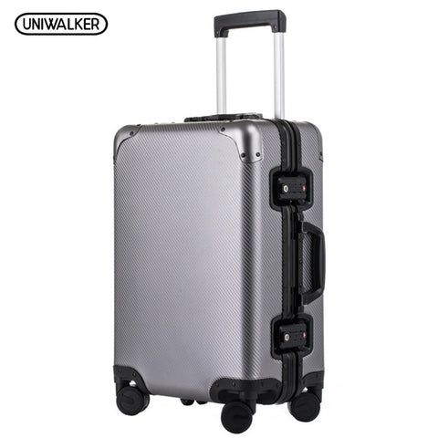 Uniwalker 20''24'' Rolling Luggage 100% Aluminum Unisex Travel Trolley Suitcase Spinner Wheels