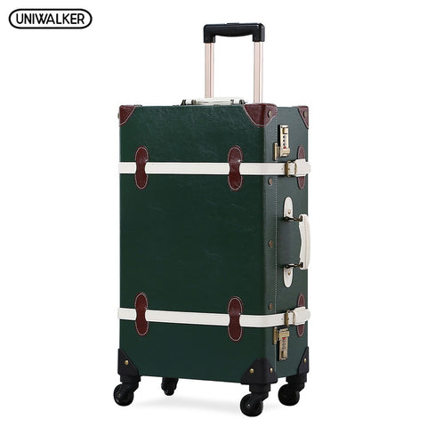 Uniwalker Pu Leather Dark Green Retro Rolling  Luggage 20''22''24''26'' Set Travel Trolley Suitcase