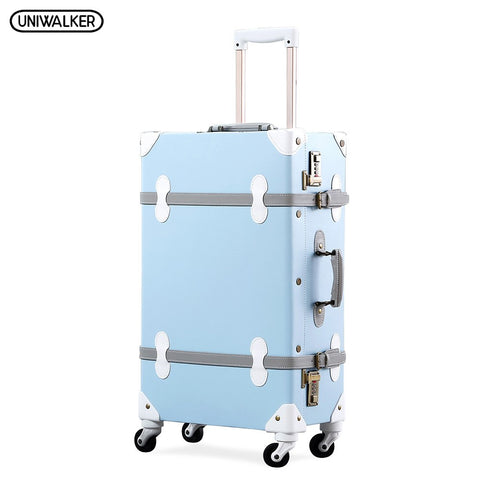 Uniwalker 20''22''24''26'' Pu Leather Vintage Rolling Luggage Trolley Travel Bag Retro Suitcase