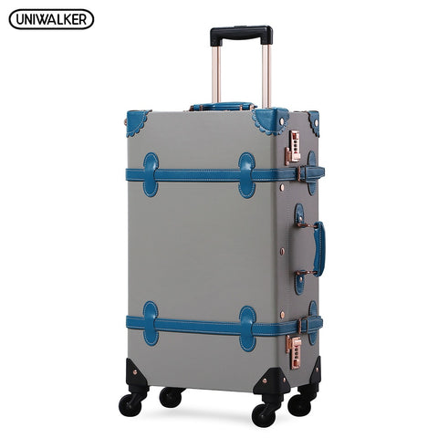 Uniwalker Retro Pu Leather Rolling Luggage Travel Trolley Vintage Suitcase With Spinner Wheels