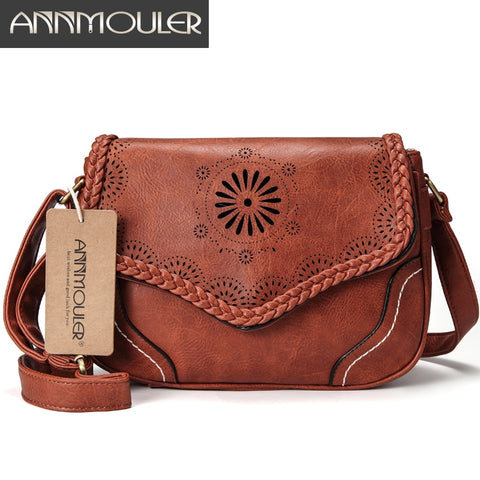 Annmouler Brand Women Shoulder Bag Vintage Pu Leather Crossbody Bag Hollow Out Ladies Satchel Bag