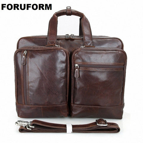 17 Inch Laptop Briefcase Genuine Leather Men Bag Briefcase Men Handbag Business Bags Ma Vintage