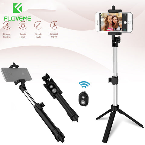 Floveme Tripod Selfie Stick Wireless Bluetooth Monopod For Iphone Samsung Xiaomi Remote Control