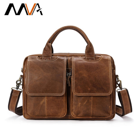 2018 Mva Genuine Leather Men'S Briefcases Men'S Leather Bags Laptop Bag 14 Inch Business Handbags