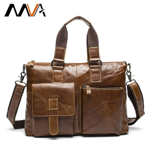 Mva Leather Laptop Bag 14 Inch Genuine Leather Shoulder Bags Business Briefcase Handbags Totes Work