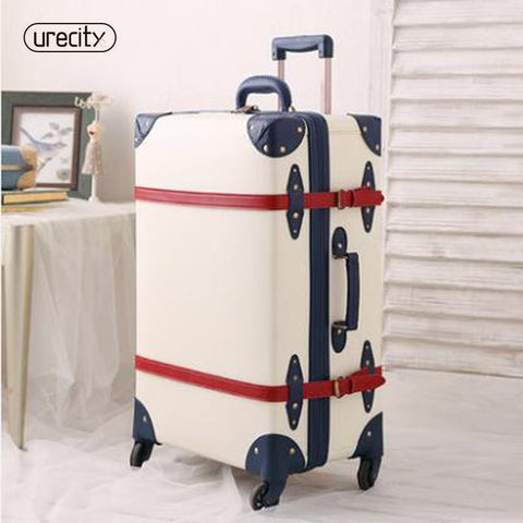2018 New Belt With Suitcase Retro Lock Luggage Leather Pu Pp Material Environmental Spinner Rolling