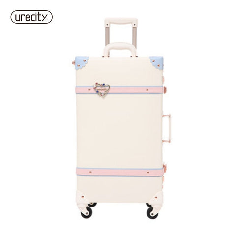 2018 New Retro Spinner Suitcase Refreshing Suitcase Student Travel Luggage Rolling Leather Travel