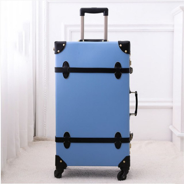 2018 Luggage Retro Solid Rolling Spinner Pu Material Suitcase 4 Wheels Silent Suitcase Case High