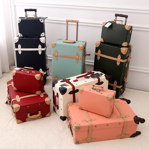 2018 New Pu Travel Luggage Set Suitcase Leather Retro Spinner Wheels Rolling Luggage 3 Colors