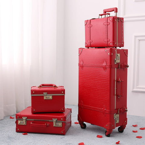 2018 New Red Luggage Crocodile Skin Suitcase Girls Travel Luggage Rolling Spinner Tsa Lock Safety