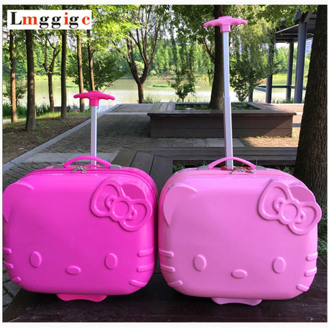 Kids Hello Kitty Rolling Luggage Bag,Children Travel Suitcase,Cartoon Box With Wheel,Abs Trolley