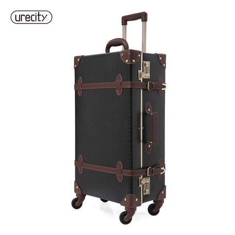 2018 Retro Luggage Crocodile Leather Suitcase Black And Brown Travel Luggage Spinner High Quality