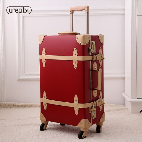 2018 New Luggage Fashion Spinner Rolling Suitcase Pu Genuine Wheels Digital Suitcase Protective