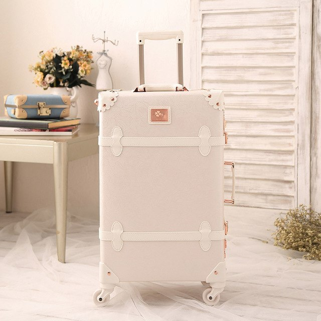 "2018 Girl Style Travel Luggage 20""22""24"" Large Size Custom Suitcase Carry-Ones Leather Pu Good"