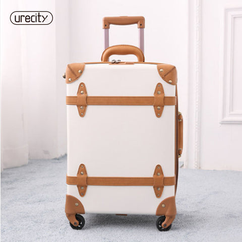 2018 Travel Suitcase Retro Luggage Genuine Leather Pu Spinner Luggage Bag Handmade High Quality