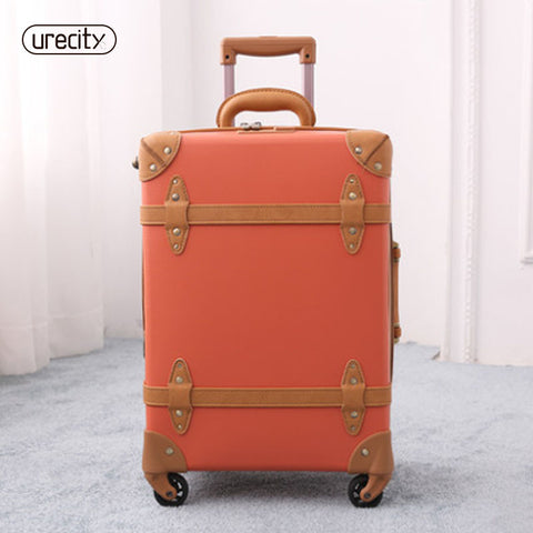 2018 Travel Luggage Spinner Rolling Retro Suitcase Genuine Leather Pu Carry-Ons 5 Colors Fashion
