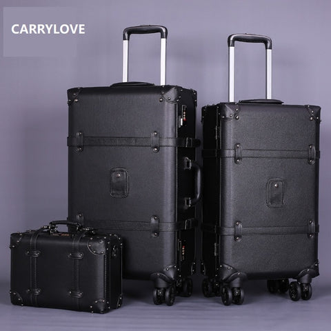 Carrylove High Quality Series 20/22/24Inch Pu Handbag And  Rolling Luggage Vintage Commerce