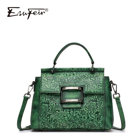 New Esufeir Vintage Shoulder Bag Genuine Leather Women Handbag Embossed Top-Handle Bag For Women
