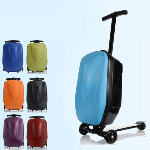 21Inch Pasword Lock Scooter Luggage Aluminum Suitcase With Wheels Skateboard Rolling Luggage Travel