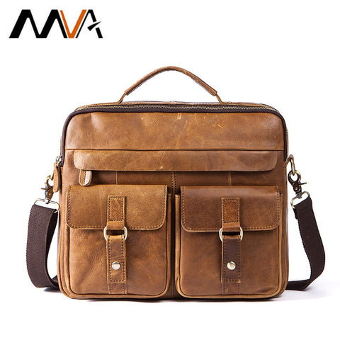 Mva Men Messenger Bags Male Genuine Leather Men Bag Briefcase Men'S Shoulder Leather Laptop Bag
