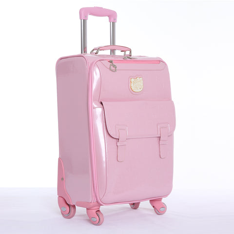 Wholesale!16 20 24Inches Cartoon Kt Travel Luggage Bags On Universal Wheels,Pink Pu Leather Cartoon