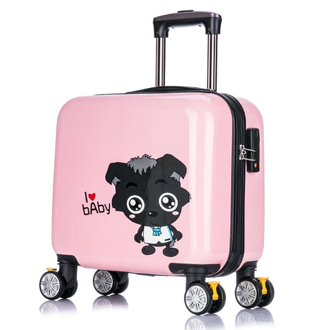 New Arrival!Children'S Lovely Cartoon Travel Luggage Bags On Universal Wheels,16Inches Pink Abs