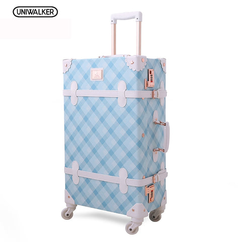 "Uniwalker 20"" - 26"" Spinner Wheels Retro Light Blue Pu Leather Suitcase Women Trunk Vintage"