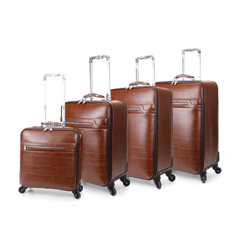 New Arrival!16 20 22 24Inches Pu Leather Hardside Case Travel Luggage On Universal Wheels,Man