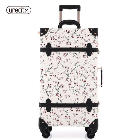2018 New Women Floral Travel Luggage Retro Suitcase Spinnner Travel Luggage Bag Rolling Floral