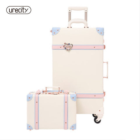 "2018 20"" - 26"" Fashion Girl Retro Rolling Luggage Bagages Pu Leather Suitcase Trunk Vintage Valiz"