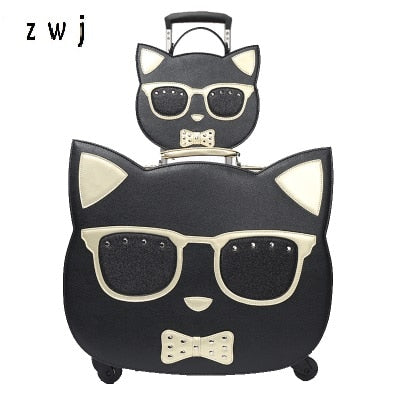 Lovely Cosmetic Bag Hello Kitty Girl Students Trolley Case Women Rolling Travel  Suitcase Luggage