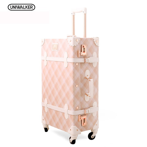 "20"" - 26"" Spinner Wheels Pink Grating Valise Bagages Pu Leather Suitcase Women Trunk Vintage"