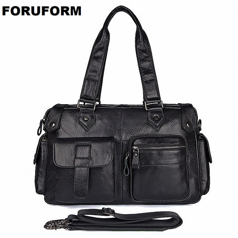 New Genuine Leather Men Travel Bags Overnight Duffel Bag Weekend Travel Handbags Large Tote Bags