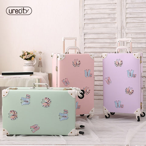 2018 NEW travel luggage bag brand suitcase leather digital butterfly printed 3 colors TSA lock girl spinner rolling luggage