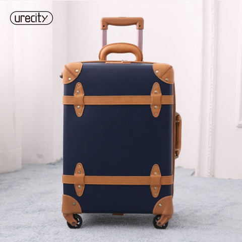 2018 Large Suitcase Travel Luggage Retro Leather Suitcase Luggage Trolley Spinner Genuine Leather