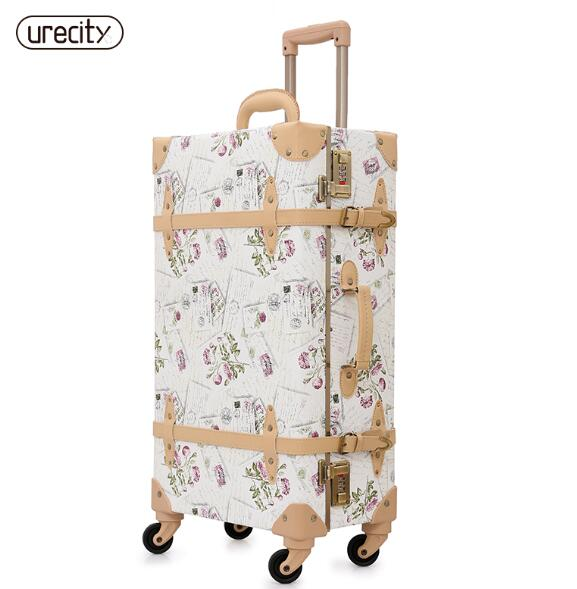 2018 New Retro Luggage Rolling Suitcase Large Suitcase Brand Leather Lggage Floral Big Suitcase