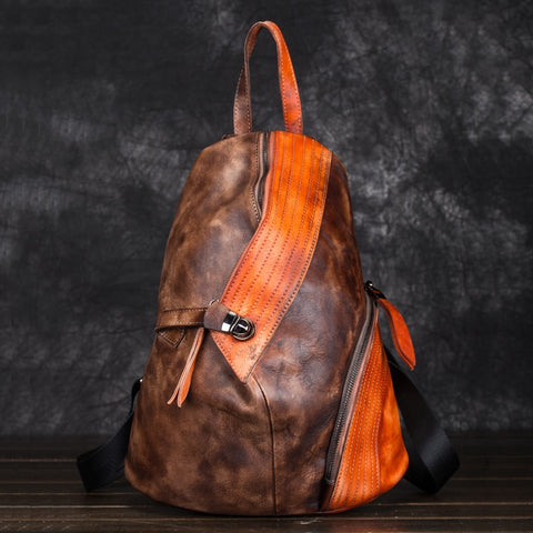 Men Women Genuine Leather Backpack Daypack Knapsack First Layer Cowhide Patchwork Brush Color