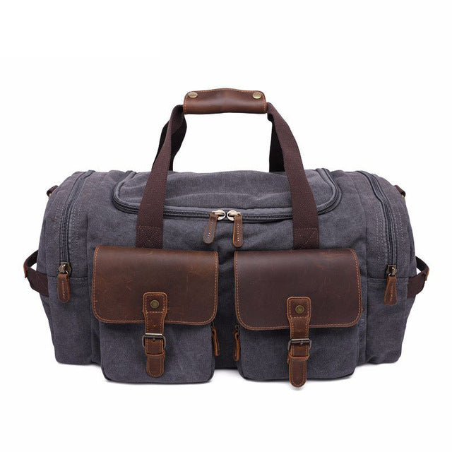 Canvas Leather Men Travel Bags Carry On Luggage Pocket Men Duffel Bags Tote Large Weekend Overnight