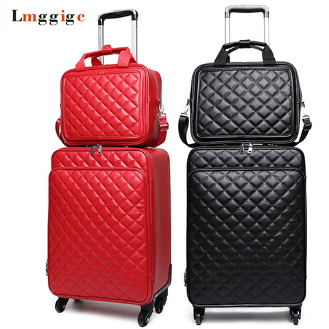 Women 'S Waterproof Pu Leather Travel Rolling Luggage Suitcase Bag Trolley Case Set, New