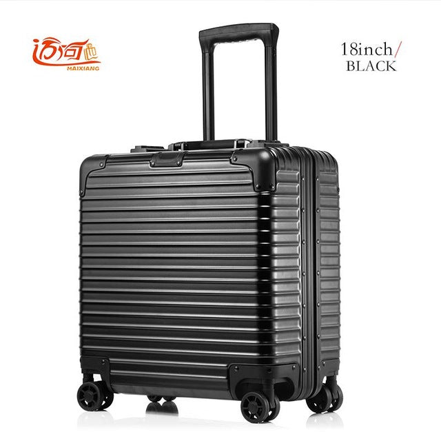 18 Inch Valise Cabine Custom Luggage Business Trolley Min Abs+Aluminium Luggage Scooter Suitcase