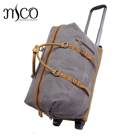 Melodycollection Canvas Leather Men Travel Carry On Luggage Bags Men Duffel Bag Travel Tote Large
