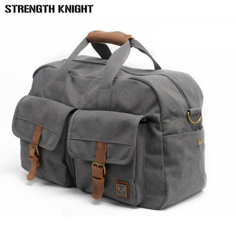 Vintage Retro Military Canvas Leather Men Travel Bags Luggage Bags Men Duffle Bags Leather