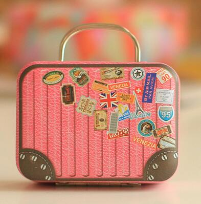 Lvv Home Retro Portable Stud Earrings Storage Box/Creative Iron Mini Luggage Candy Box Earphone Box