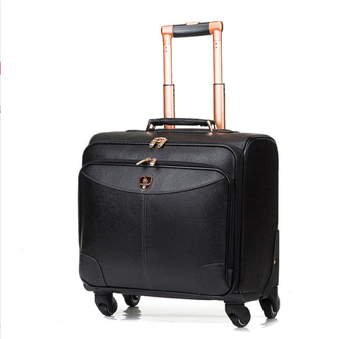 Wholesale!High Quality Red/Black Genuine Leather Trolley Luggage On Universal Wheels,16Inches