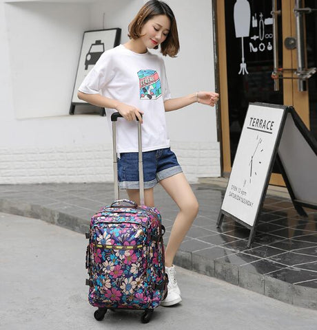 Women Travel Trolley Backpack Wheeled Suitcase  Luggage Bags Travel Backpack Bags Wheels Suitcase