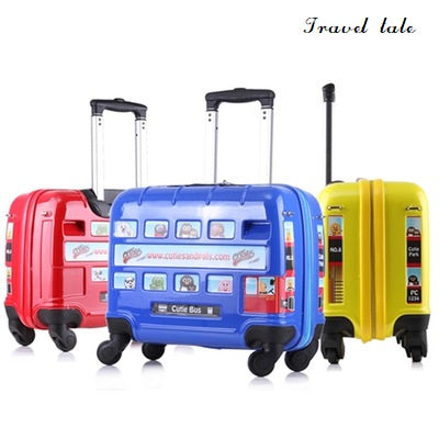 Travel Tale Cartoon Children Bus Car Abs+Pc Rolling Luggage Spinner Brand Travel Suitcase Fashion