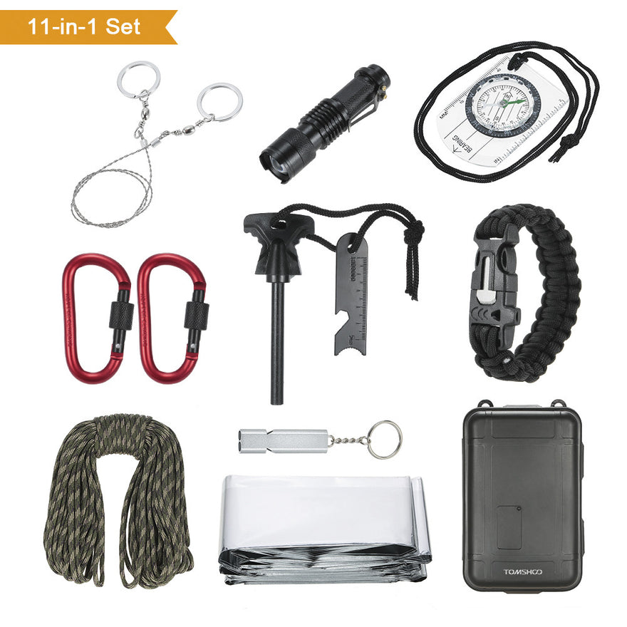 Tomshoo 11 In 1 Outdoor Survival Kit Multi-Purpose Emergency Equipment First Aid Survival Gear Tool