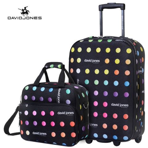 Davidjones Wheel Travel Suitcase Set Carry On Trolley Bag Fixed Cabin Large Luggage Bag Girl