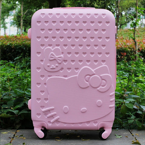 20Inch Women Hello Kitty Travel Suitcase,Spinner Bag Hello Kitty,Abs Luggage Bag,Girl Travel