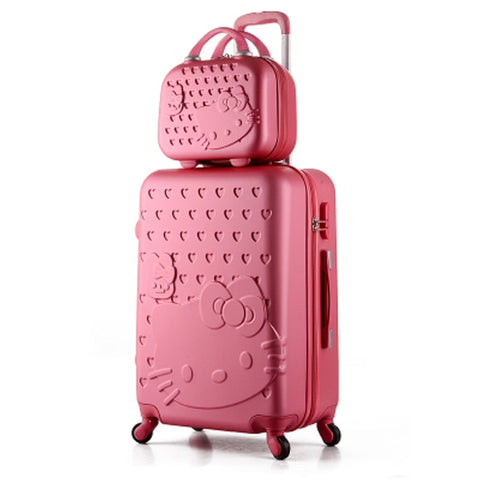 14+24 Inch Pink Women Cartoon Hello Kitty Suitcase Set,Spinner Rolling Luggage Sets,Trolley Luggage